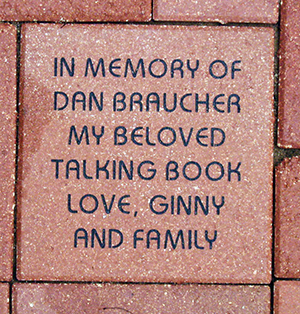 An engraved memorial brick.