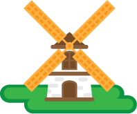 An illustration of a white mini golf windmill.